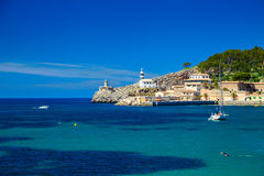 Small lighthouse at the pier of Port de Soller Royalty Free Stock Photo