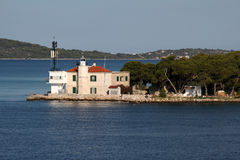 Small lighthouse in a Sibenik bay entrance, Croatia Stock Images