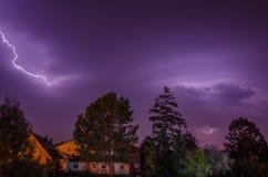 Small lightning in village. Small bright lightning in a village Royalty Free Stock Image