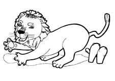 Small Lion, colouring book,black and white version illustration. Hand drawn sketch of animals.Coloring book page, black and white version illustration. Can be royalty free illustration