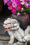 Small lion-dog stone statue in front of a large vase with flowers. Lion-dogs or Komainu are the guardians of the gates to shrines and houses royalty free stock photo