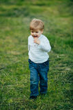 Small little boy walking and play Royalty Free Stock Photo