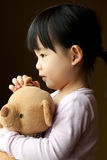 Small little kid with teddy bear Royalty Free Stock Photos