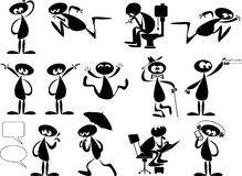 Small little man. Set of three   foreground silhouettes with all figures and other elements as separate movable objects Stock Image