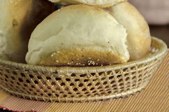 Small  loaf fresh household bread in the breadbasket Stock Photography
