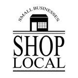 Small local business sign vector with building and frame Stock Photography