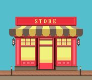 Small local store. Vector illustration city street a small shop