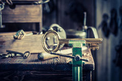 Small locksmiths workshop with ancient tools Stock Images