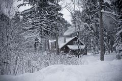 Small lonely house in snowing forest in russia stock photos