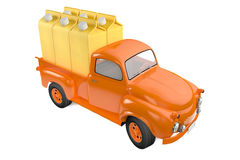Small lorry with packing of banana juice Stock Images