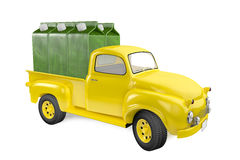 Small lorry with packing of juice from a green apple Royalty Free Stock Photography