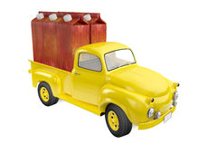 Small lorry with packing of juice from a red apple Royalty Free Stock Image