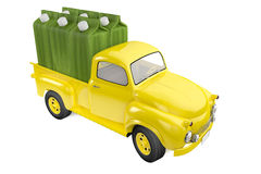 Small lorry with packing of lemon lime juice. 3d illustration lorry with packing of lemon lime juice Stock Photo