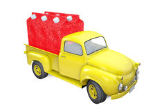 Small lorry with packing of strawberry juice Stock Photo