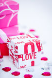 Small LOVE gift boxes Stock Photos