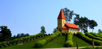 Small, lovely church on mountain Stock Photo