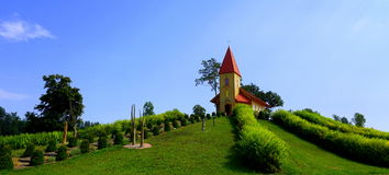 Small, lovely church on mountain Royalty Free Stock Image