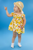 Small lovely girl on a blue background. Stock Photography