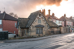 Small Lovely House. At Road Corner in Leeds, UK Royalty Free Stock Images
