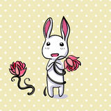 Hiding Easter Bunny card in vector format. Small lovely rabbit holds giant carrot, eps10 Stock Image