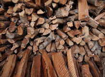 Small lumbers wood for firewood in local of Thailand. Royalty Free Stock Images
