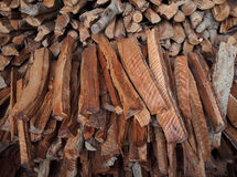 Small lumbers wood for firewood in local of Thailand. Royalty Free Stock Photo