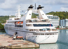 Small Luxury Cruise Ship at Caribbean Port Stock Images