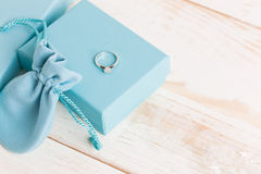 Small luxury gift box. And bag with jewelry Stock Photography
