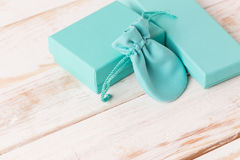 Small luxury gift box. And bag with jewelry Royalty Free Stock Image