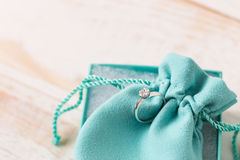 Small luxury gift box. And bag with jewelry Royalty Free Stock Photo