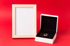 Small luxury gift box. And bag with jewelry Royalty Free Stock Photography