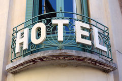 Small luxury Hotel entrance sign, provence south of france Stock Photos