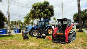 Small machinery equipment. Vehicle machinery at a work site in South Florida Stock Photo