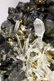 Crystals and gold up close. This a small macro shot of this wild specimen I found in Tucson, AZ at the Gem & Mineral Show there a couple of years ago and I Royalty Free Stock Image
