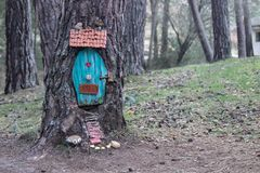 Small magical garden of the gnomes in the forest. Small magical garden of the gnomes in the trees stock image