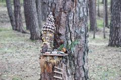 Small magical garden of the gnomes in the forest. Small magical garden of the gnomes in the trees stock images
