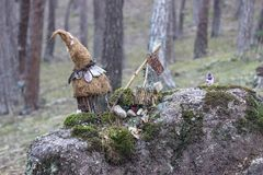 Small magical garden of the gnomes in the forest. Small magical garden of the gnomes in the trees royalty free stock photos