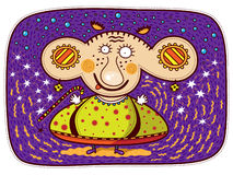 Small magician. With big ears and small hands and feet on a purple background with stars, blue bubbles and yellow curves Stock Images