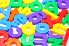 Small magnet letters. Close up Royalty Free Stock Images