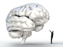 Small man connecting with big brain Stock Images