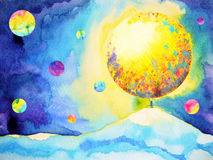 Small man hands up catching, reaching big moon, watercolor painting Stock Photography