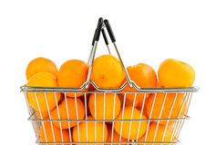Small mandarins in shop basket isolated over white Royalty Free Stock Photography