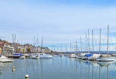 Small marina, city of Morges 2. Small marina, city of Morges near the Lausanne city. Canton Vaud, Switzerland Stock Image