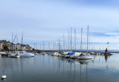 Small marina, city of Morges 1. Small marina, city of Morges near the Lausanne city. Canton Vaud, Switzerland Stock Photography