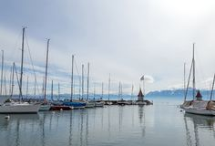 Small marina, city of Morges 3. Small marina, city of Morges near the Lausanne city. Canton Vaud, Switzerland Stock Photo