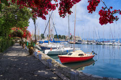 Small marina in Corfu island, Greece Stock Image