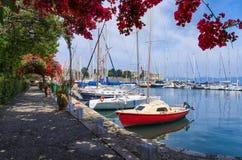 Small marina in Corfu island, Greece Stock Image