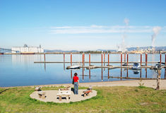 Small marina with girl. Stock Photography