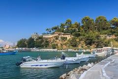 Small marina on holiday island Royalty Free Stock Photo