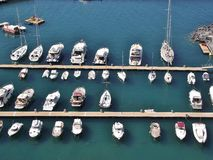 Small marina near Sorrento, Italy. Sailing boats in the gulf of Naples Royalty Free Stock Images